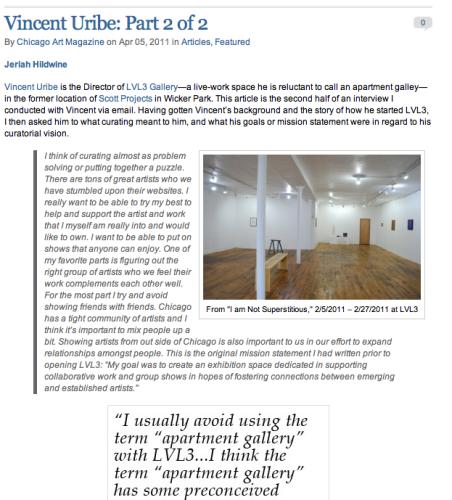 Chicago Art Magazine: Part 2 or 2 interview