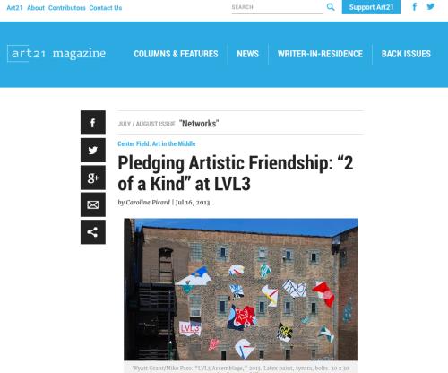 "art21 magazine: Pledging Artistic Friendship: ""2 of a Kind"" at LVL3"