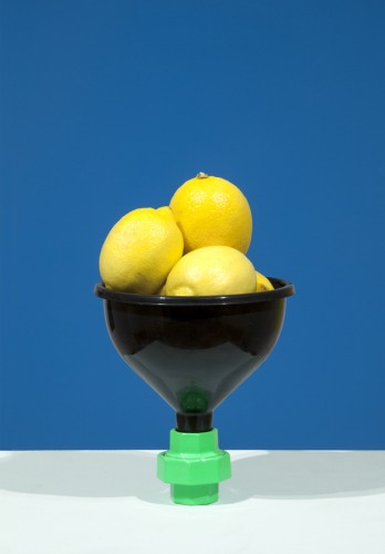 Lemons in Black Funnel on Blue (Rodman Hall Install Photo) 2014_2