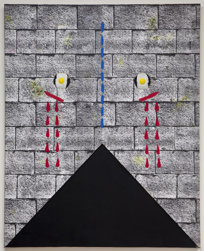 Untitled, oil, enamel plywood, sheet rock, xerox, rubber eggs 60x48