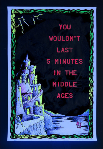 Middle Ages, acrylic on found black light poster, 36x23