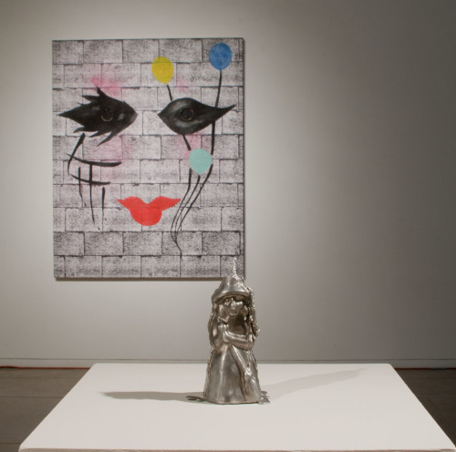 Installation View, Spell Candle (foreground), aluminum, 7.5x3x3, Untitled (background)