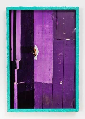 Dingbat (8), 2014 Inkjet print mounted on aluminum, artist's frame with stucco and Krylon Sea Glass spray paint 43 x 29 1/2 inchesEdition of 3