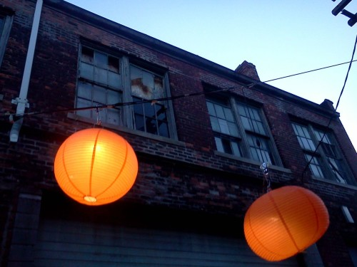 Back Alley with Lanterns for a Foraged Feast Photo by salt and Cedar