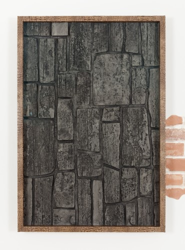 Wingding (1) (Faux on Faux), 2014  Faux Stone panel; artist's frame with faux alligator skin 43 x 29 1/2 inches Unique