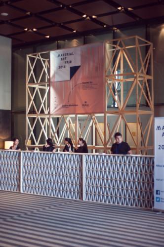 Reception desk at Material Art Fair 2014. Photo by Gran Studio 3000.