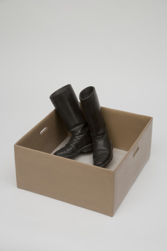 Box with Military Boots (2010),  56 x 55 x 38,5 cm. limestone, serpentinite