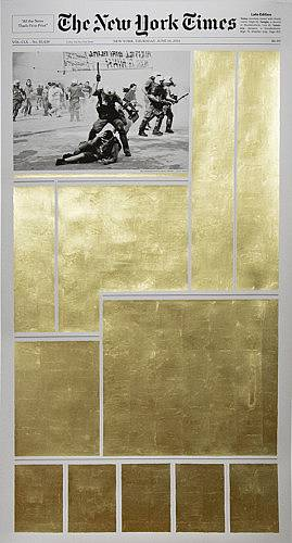 "June 16th 2011 23k gold leaf on archival inkjet print 60""x35"" 2014"