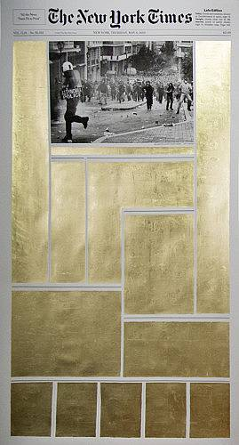 "May 6th 2010 23k gold leaf on archival inkjet print 60""x35"" 2014"